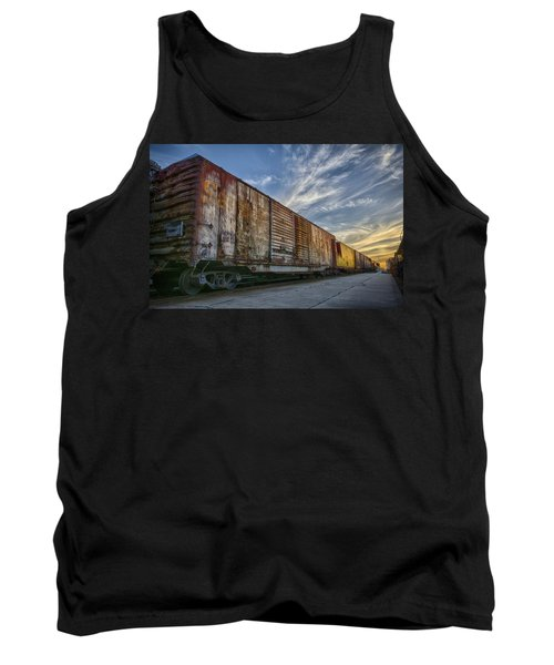 Tank Top featuring the tapestry - textile Old Train - Galveston, Tx by Kathy Adams Clark