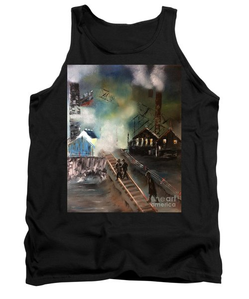 Tank Top featuring the painting On The Pennsylvania Tracks by Denise Tomasura