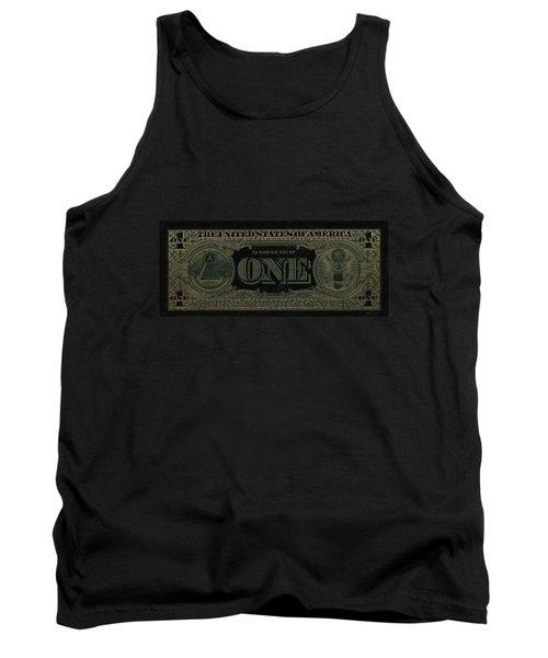 One U. S. Dollar Bill Reverse - Gold On Black Tank Top