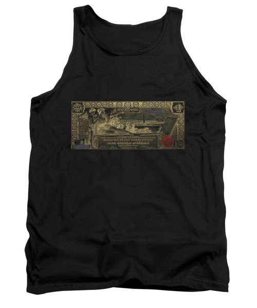 Tank Top featuring the digital art One U.s. Dollar Bill - 1896 Educational Series In Gold On Black  by Serge Averbukh
