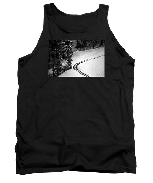 Tank Top featuring the photograph One Way - Winter In Switzerland by Susanne Van Hulst