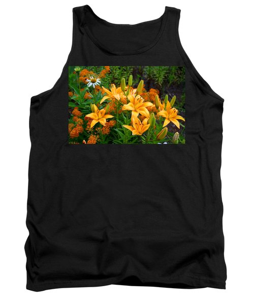 Tank Top featuring the photograph Orange Asiatic Lilies And Butterfly Weed by Kathryn Meyer