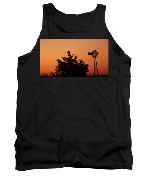 Tank Top featuring the photograph Orange Dawn With Windmill by Shelli Fitzpatrick