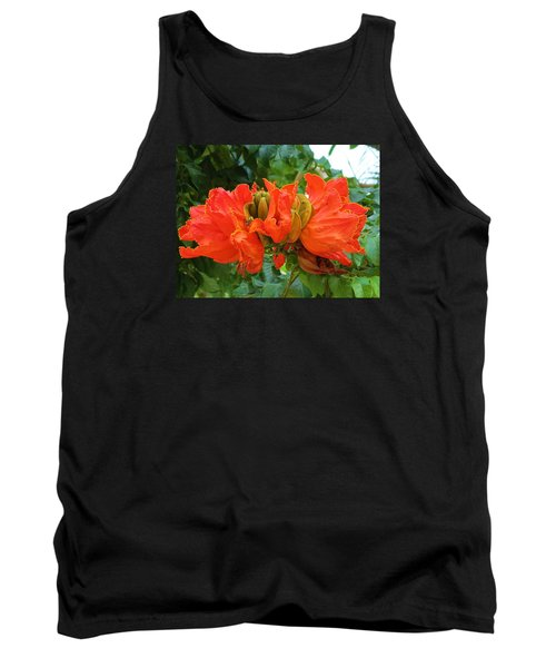 Orange Flowers Tank Top