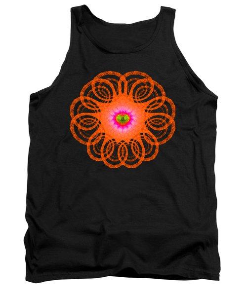 Orange Fractal Art Mandala Style Tank Top by Matthias Hauser