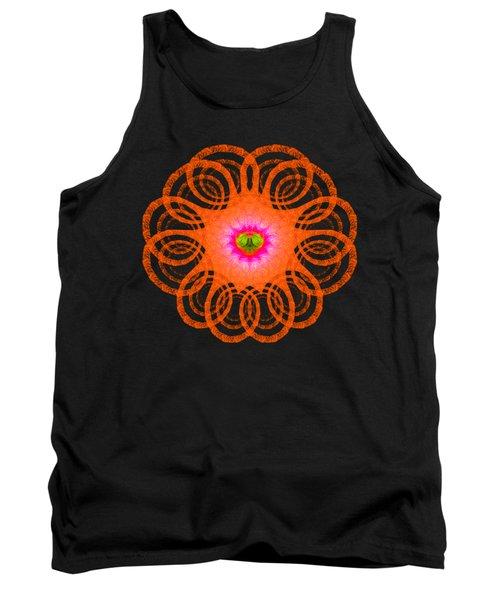Orange Fractal Art Mandala Style Tank Top