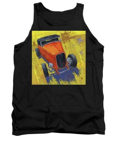 Orange Hot Rod Roadster Tank Top