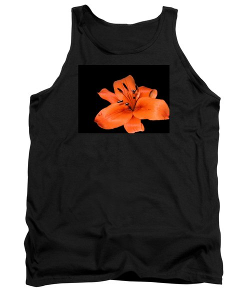 Tank Top featuring the photograph Orange Orchid On Black by Karen Nicholson
