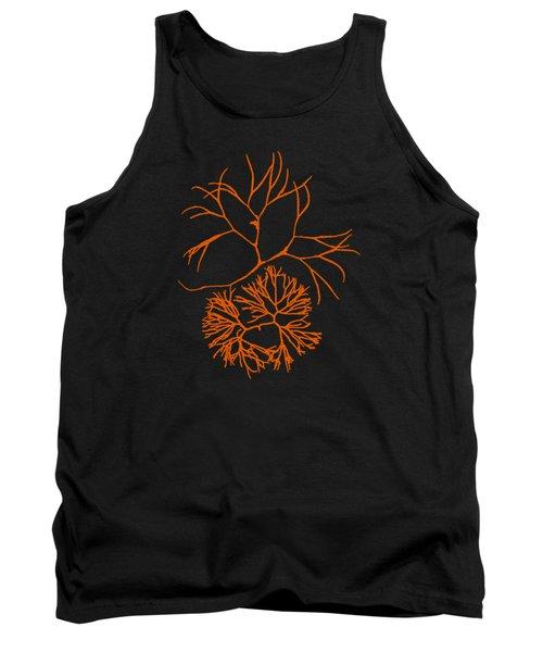 Tank Top featuring the mixed media Orange Seaweed Marine Art Furcellaria Fastigiata by Christina Rollo