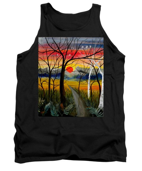 Tank Top featuring the painting Out Of The Woods by Renate Nadi Wesley