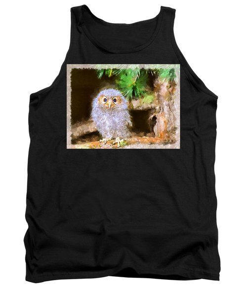 Tank Top featuring the digital art Owlet-baby Owl by Maciek Froncisz