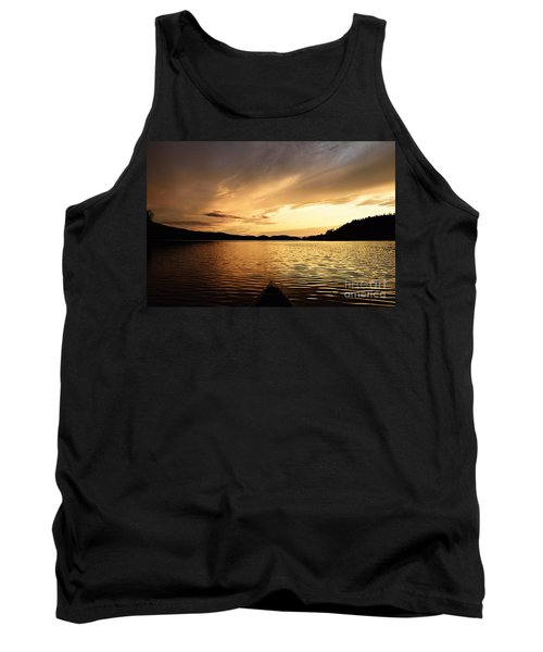 Tank Top featuring the photograph Paddling At Sunset On Kekekabic Lake by Larry Ricker