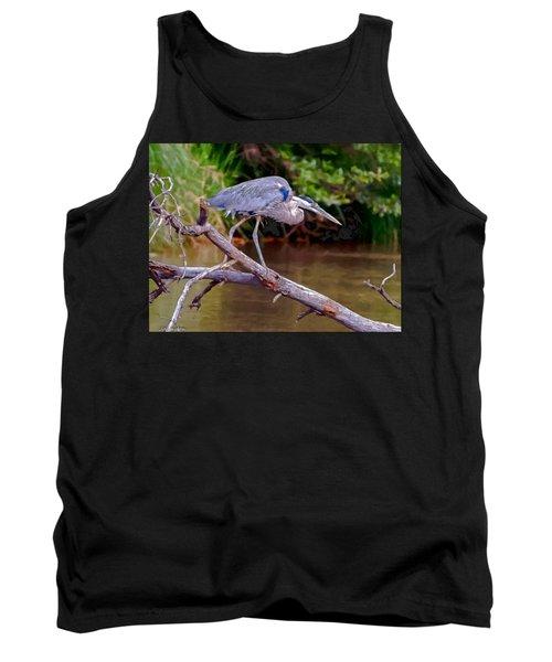Painting Blue Heron Oak Creek Tank Top