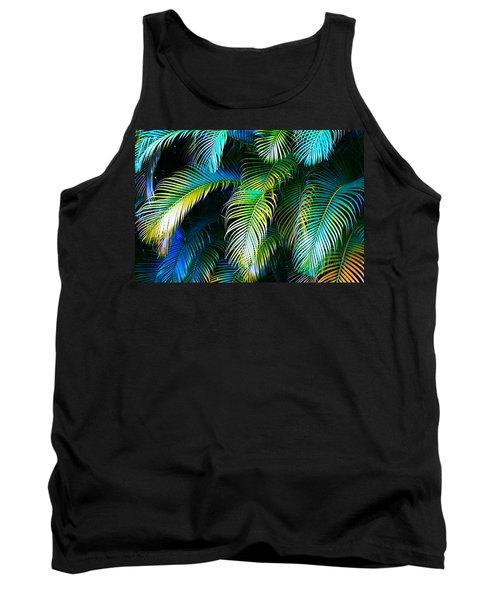 Palm Leaves In Blue Tank Top by Karon Melillo DeVega