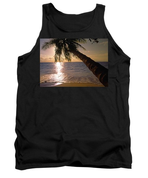 Palm Tree Over The Beach In Costa Rica Tank Top