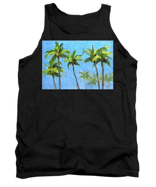 Tank Top featuring the painting Palm Tree Plein Air Painting by Karen Whitworth