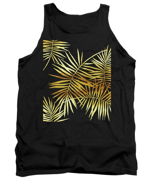 Palmes Dor Noir Golden Palm Fronds And Leaves Tank Top
