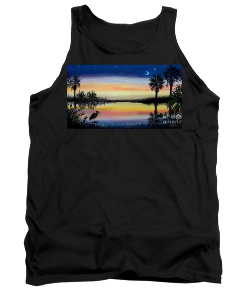 Palmetto Tree And Moon Low Country Sunset Tank Top by Patricia L Davidson