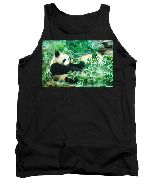 Tank Top featuring the painting Panda 1 by Lanjee Chee