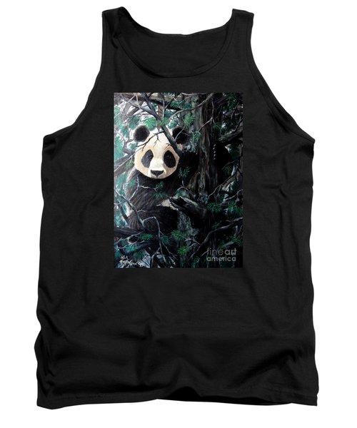 Panda In Tree Tank Top by Nick Gustafson