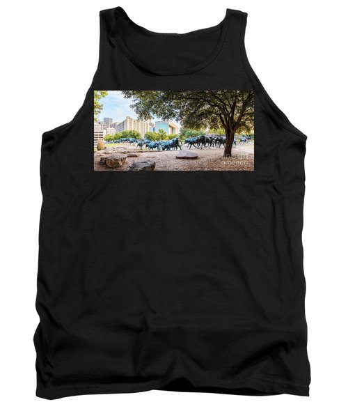 Panorama Of Cattle Drive At Pioneer Plaza In Downtown Dallas - North Texas Tank Top