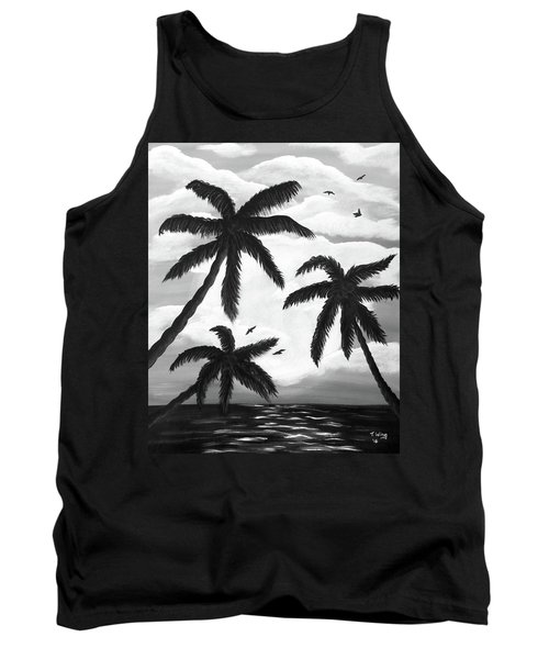 Tank Top featuring the painting Paradise In Black And White by Teresa Wing