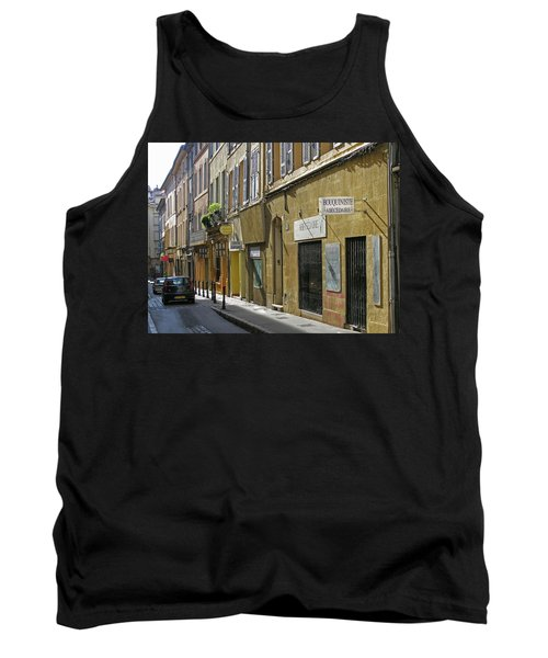 Tank Top featuring the photograph Paris Street Scene by Jim Mathis