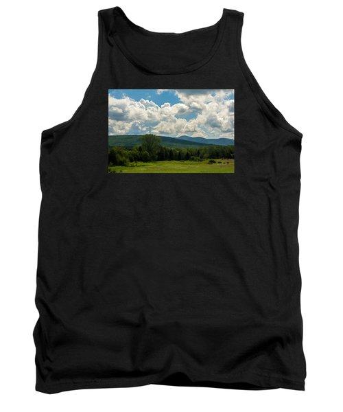 Tank Top featuring the photograph Pastoral Landscape With Mountains by Nancy De Flon