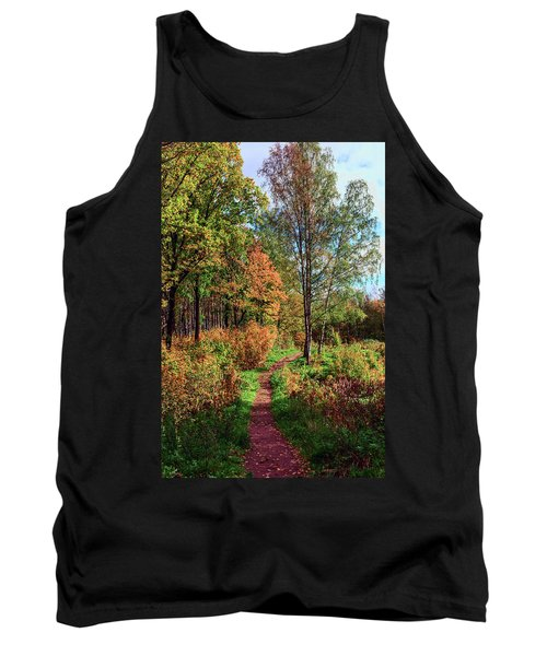 path in a beautiful country Park on a Sunny autumn day Tank Top