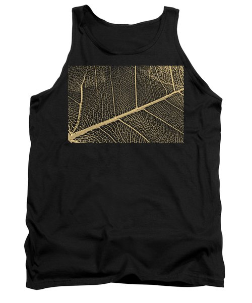 Patterns Of Nature - Leaf Veins In Gold On Black Canvas No. 3 Tank Top