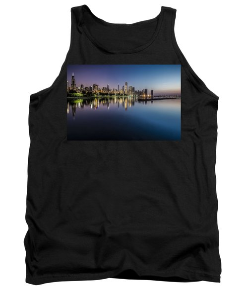 Peaceful Summer Dawn Scene On Chicago's Lakefront Tank Top