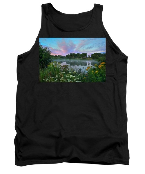 Peaceful Sunrise At Lake. Altai Tank Top