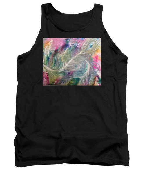 Peacock Feathers Pastel Tank Top by Denise Hoag