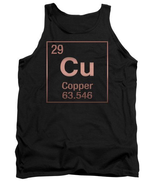 Periodic Table Of Elements - Copper - Cu - Copper On Black Tank Top