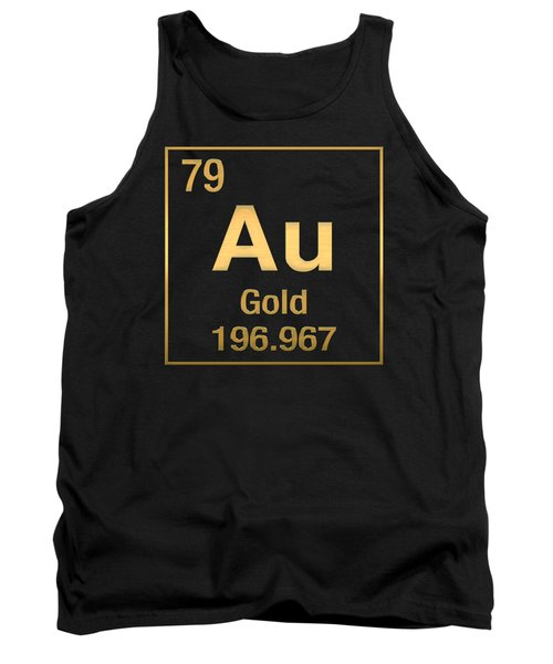 Periodic Table Of Elements - Gold - Au - Gold On Black Tank Top by Serge Averbukh