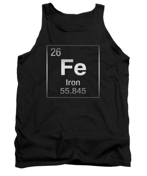 Periodic Table Of Elements - Iron - Fe On Black Canvas Tank Top