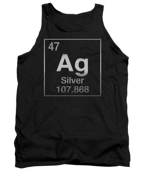 Periodic Table Of Elements - Silver - Ag - Silver On Black Tank Top