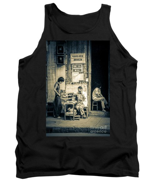 Tank Top featuring the photograph Phonecall On Chinese Street by Heiko Koehrer-Wagner