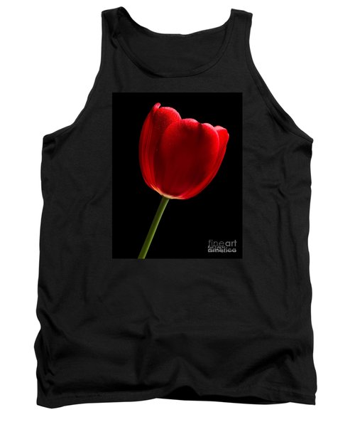 Tank Top featuring the photograph Photograph Of A Red Tulip On Black I by David Perry Lawrence
