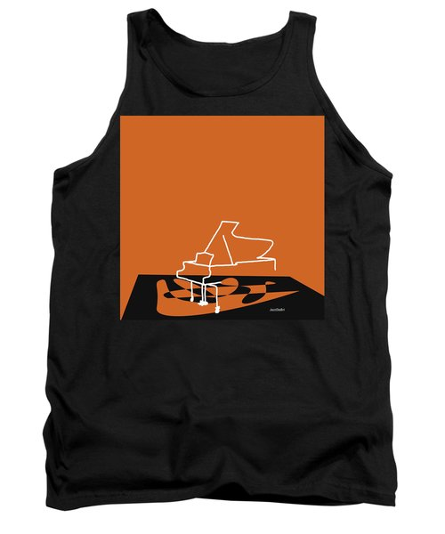 Piano In Orange Tank Top