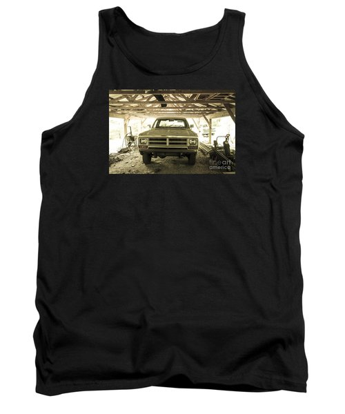 Pick Up Truck In Rural Farm Setting Tank Top by Perry Van Munster