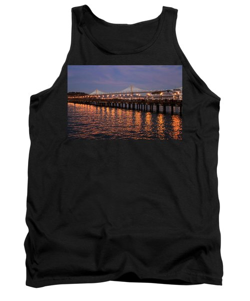 Pier 7 And Bay Bridge Lights At Sunset Tank Top