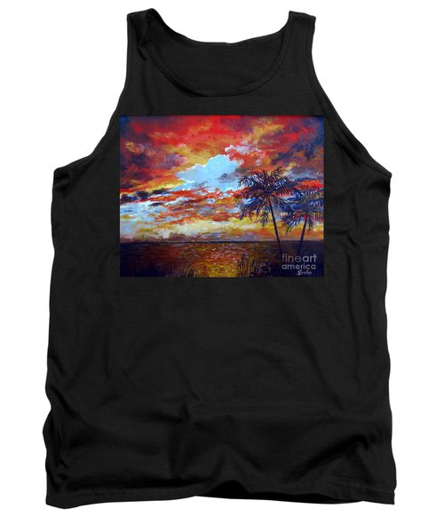 Tank Top featuring the painting Pine Island Sunset by Lou Ann Bagnall