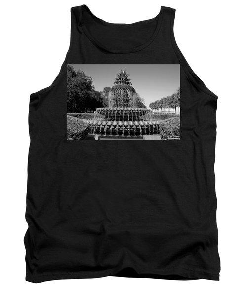 Pineapple Fountain Charleston Sc Black And White Tank Top