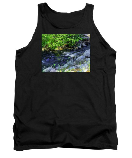 Pinecones Sage And Slow Moving Water Tank Top by Nancy Marie Ricketts