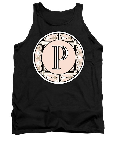 Pink Champagne Deco Monogram  P Tank Top