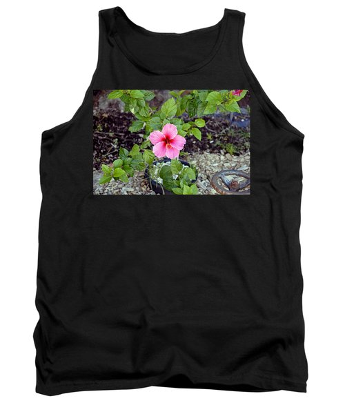 Pink Hibiscus And Wheel Tank Top