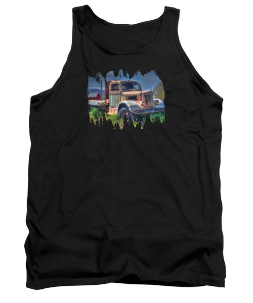 Classic Flatbed Truck In Pink Tank Top