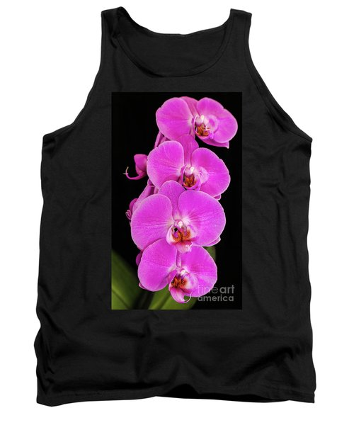 Pink Orchid Against A Black Background Tank Top
