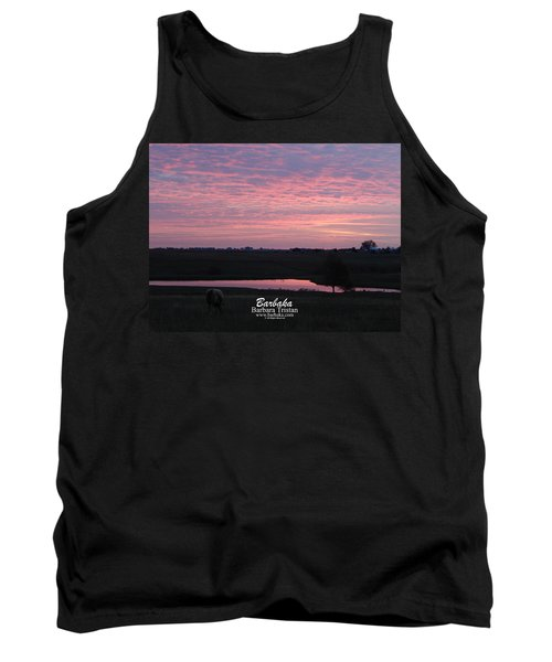 Pink Pond And Cow #5110 Tank Top